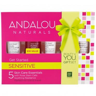 Andalou Naturals - 1000 Rosas - Kit de Inicio Piel Sensible. (5 piezas)