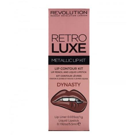 Makeup Revolution - Metallic Lip Kit Retro Luxe - Dynasty