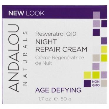 Andalou Naturals - Crema nocturna anti-edad reparadora, Resveratrol Q10