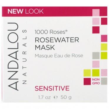 Andalou Naturals - 1000 Rosas - Mascarilla facial de Agua de Rosas. Piel Sensible
