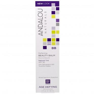 Andalou Naturals - Benefit Balm anti-edad sin color con células madre de Argan (SPF 30)