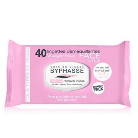 Byphasse - Toallitas desmaquillantes para todo tipo de piel Proteina de Leche x 40