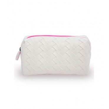 W7 - Neceser de cosméticos Weaved - Blanco/Fucsia