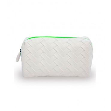 W7 - Neceser de cosméticos Weaved - Blanco/Verde