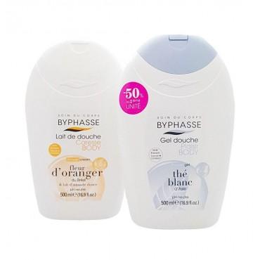 Byphasse - Gel de ducha té blanco 500ml + Gel de ducha flor de naranjo 500ml