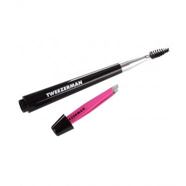 Tweezerman - Brocha para cejas con mini pinza rosa