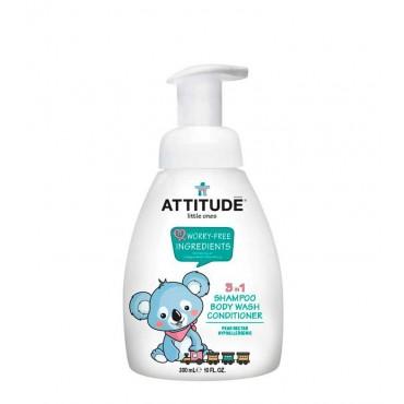 Attitude - Little Ones - Champú, gel y acondicionador 3 en 1 para bebés - Néctar de pera