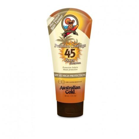 Australian Gold - PREMIUM COVERAGE SPF45 - Protector solar facial con bronceador - 88ml