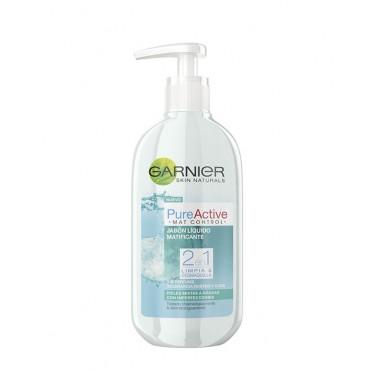 Garnier - PURE ACTIVE - Jabon líquido matificante 2 en 1 Mat Control Gel Pieles mixtas a grasas - 200 ml
