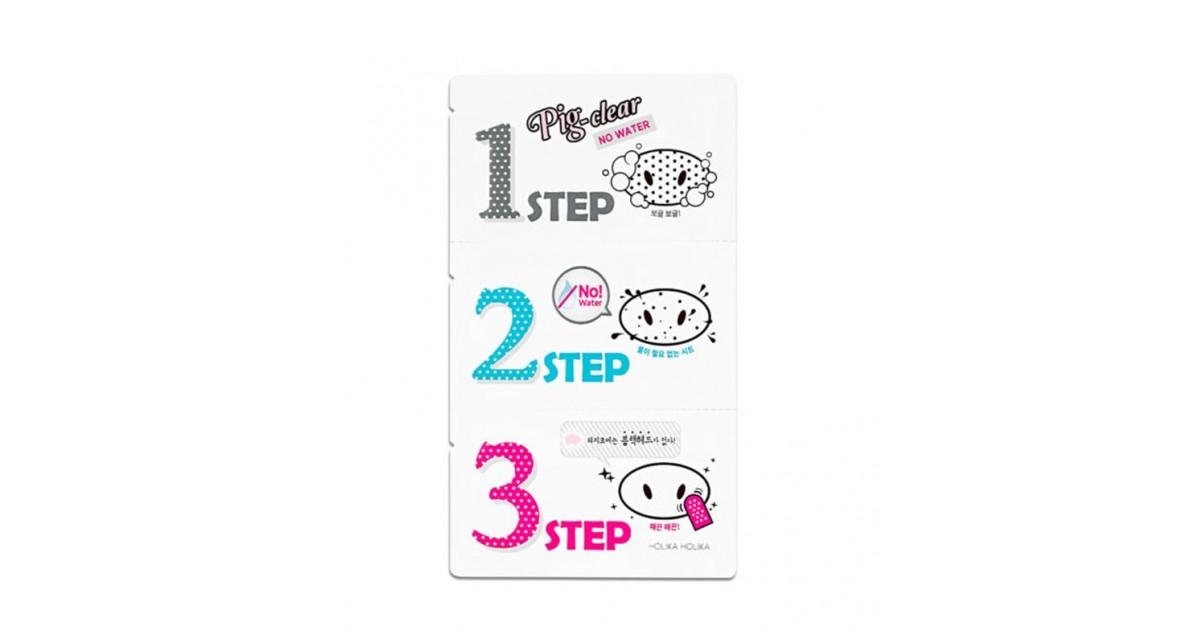 Holika Holika - Tiras limpiadoras de Poros en 3 pasos sin agua - Pig-clear