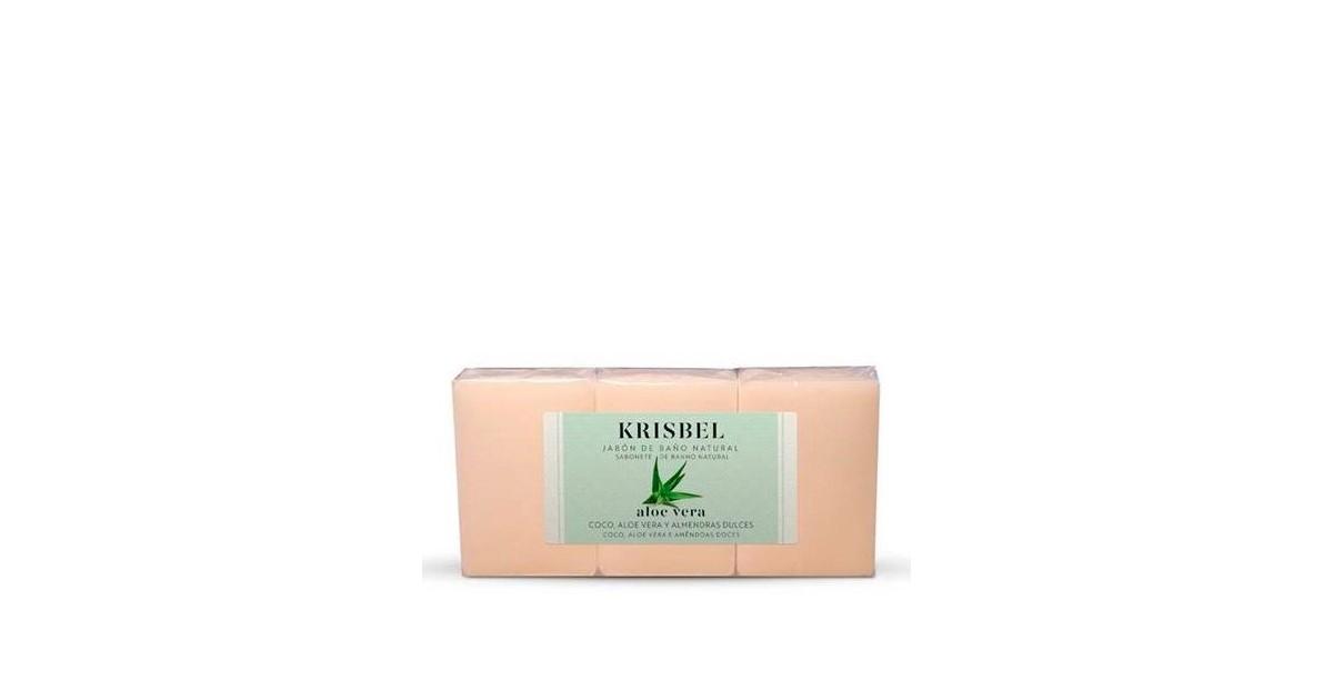 Krisbel -  Jabón Natural de Aloe vera, Coco y Almendras Dulces - 3 x 125g