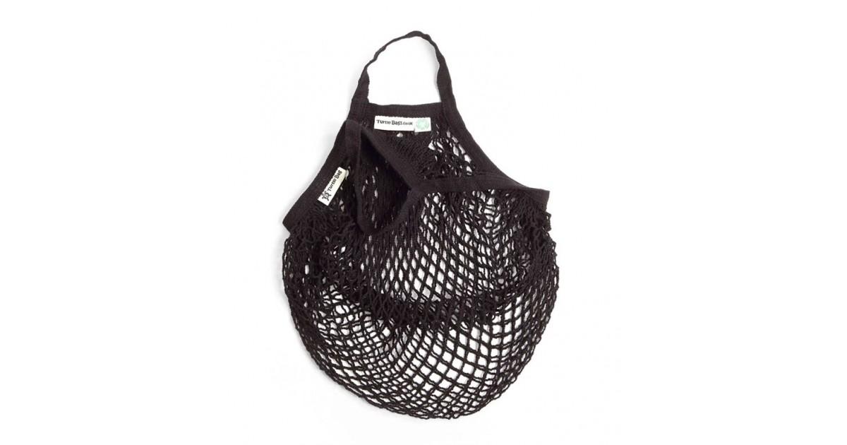 Turtle Bags - Bolsa de Algodón Ecológico de Red con Asa Corta - Negro