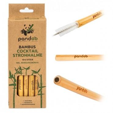 Pandoo - Pajita de bambú reutilizable de Cocktail - 12 Unidades