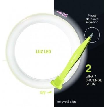 Beter - Espejo doble con pinza de depilar y luz LED - Rosa