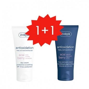 Ziaja - Set 1+1 GRATIS - Acai - Crema de día SPF10 + Crema regeneradora rostro y cuello.