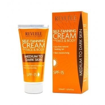 Revuele - Crema autobronceadora para rostro y cuerpo - Medio/oscuro 200ml