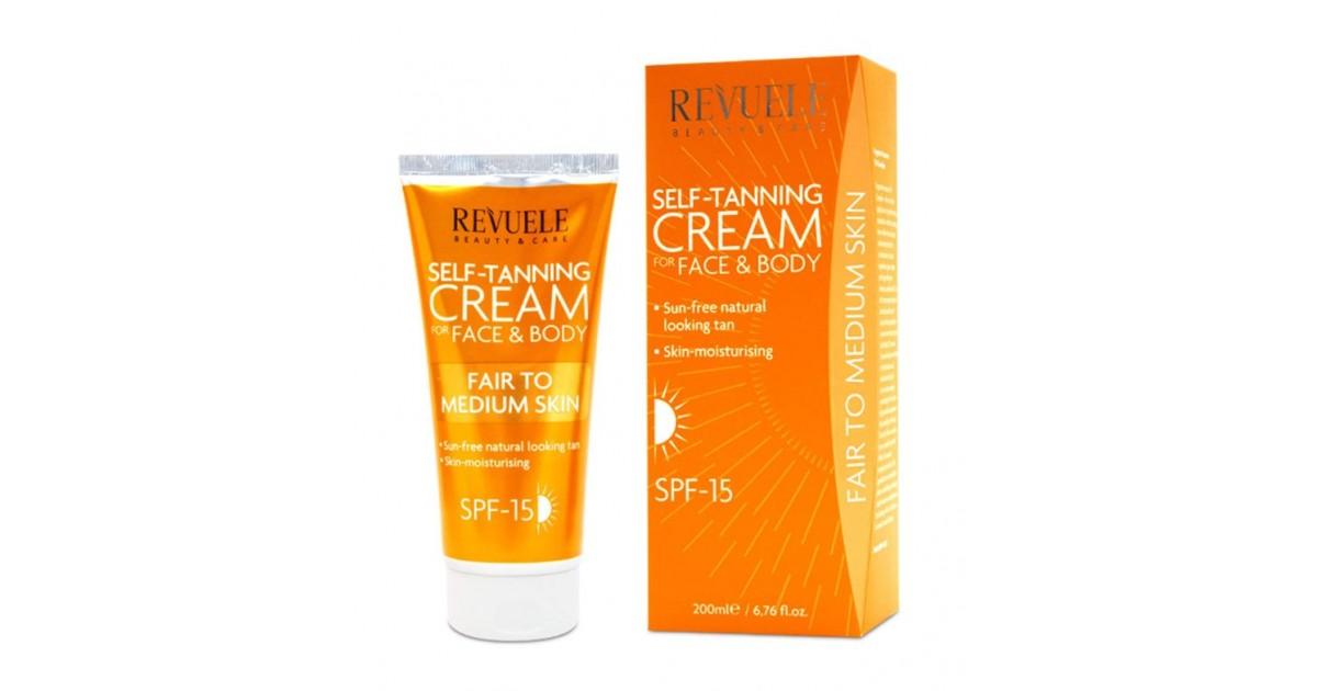 Revuele - Crema autobronceadora para rostro y cuerpo - Claro/medio - 200ml