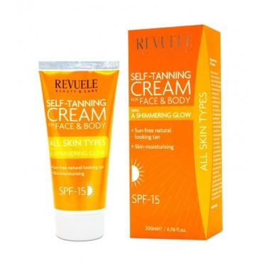 Revuele - Crema autobronceadora para rostro y cuerpo - Todo tipo de pieles - 200ml