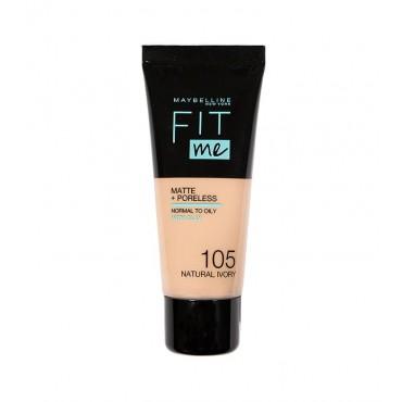 Maybelline - Base de Maquillaje Fit Me Matte + Poreless - 105: Natural Ivory