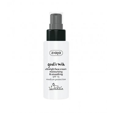 Ziaja - Crema Facial Hidratante y Suavizante Ultralight SPF15 con Leche de Cabra