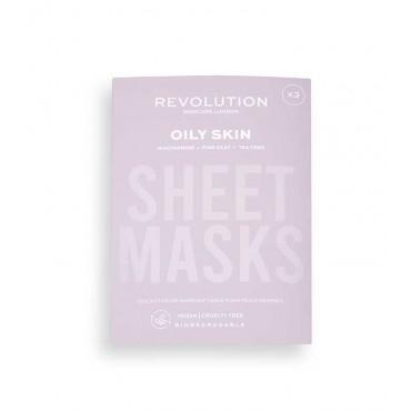 Revolution Skincare - Pack de 3 mascarillas para pieles grasas