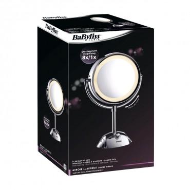 Babyliss - Espejo con luz 2 caras 8 aumentos Ref 8438E