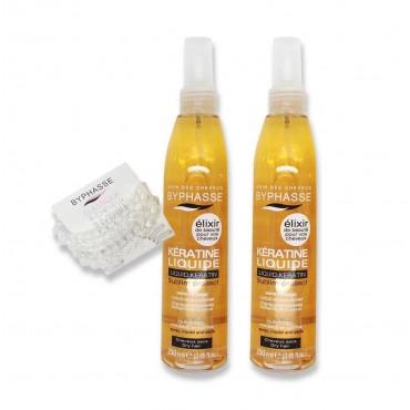 Byphasse - Queratina Liquida Pack 2x250ml + Regalo: Goma de pelo anti-marcas - Ed. Limitada